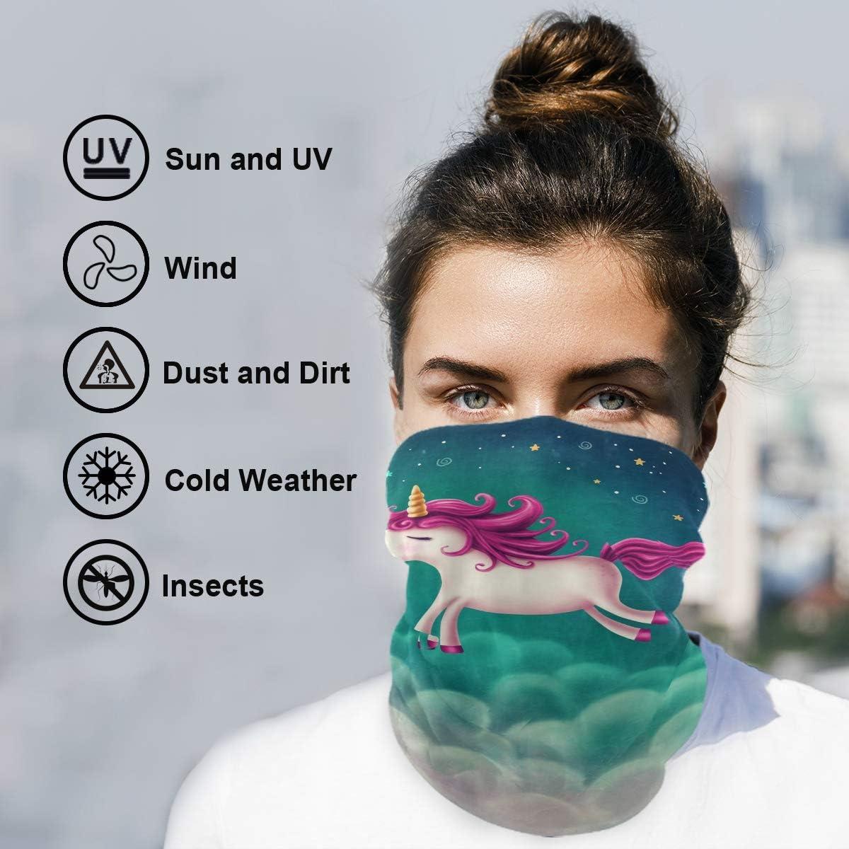Bandana Face Mask for Women Men, Cute Unicorn Neck Gaiter Balaclava Face Cover Sun Dust Mask Magic Scarf Headwear