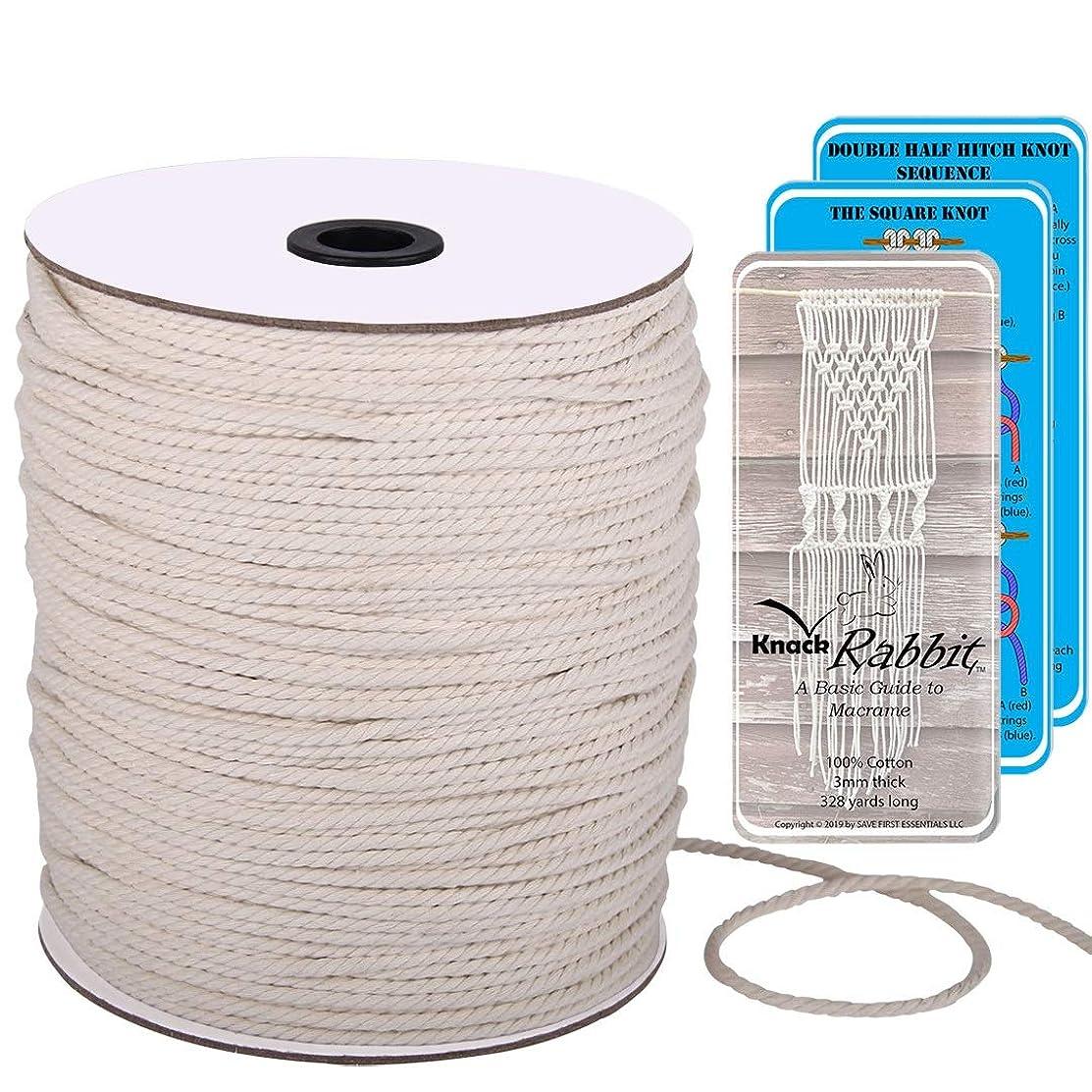 Macrame Cord 3mm x 328 Yard Bulk (300 Meters) | DIY Craft 3mm Macrame Cord | Natural Cotton Rope Macrame Supplies | 3 Strand Twisted Macrame Rope for Macrame Wall Hanging, Plant Hanger, Rope Lights