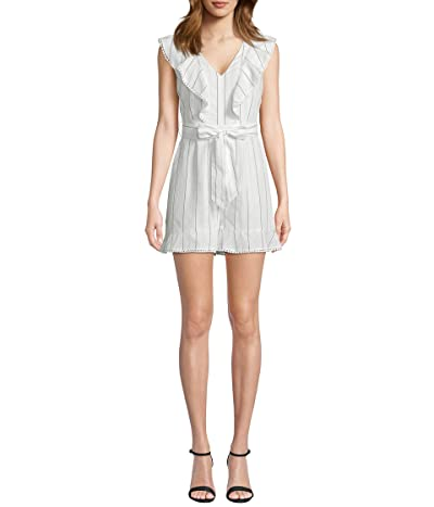 Cupcakes and Cashmere Elena Striped Lyocell Romper w/ Ruffle Detail (Ivory) Women