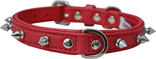"""Angel, Rotterdam Spiked,18 x 3/4"""" Hot Pink Genuine Leather Dog Collar, Soft Padded, Stainless Steel, Fits most French Bull..."""