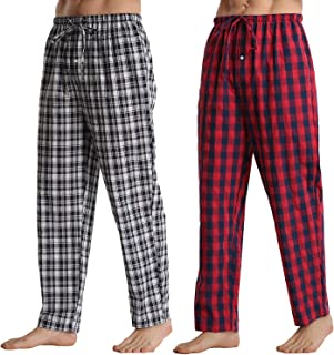 Mens Pyjamas Bottoms 2 Pack Comfy Cotton Checked Men Lounge Pants with Pockets Pyjama Trousers Red Checked+Navy Blue Check...