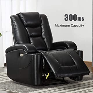ANJ Electric Power Recliner Chair for Living Room, Breathable Bonded Leather, Classic and Traditional Single Sofa Seat, Home Theater Seating with Cup Holders and USB Port, Black