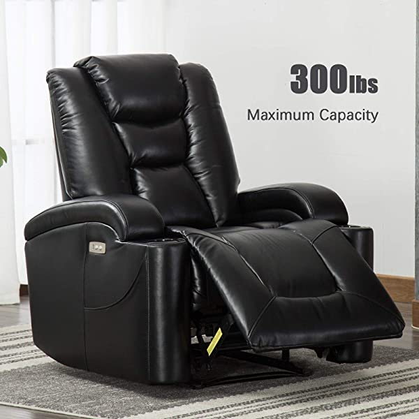 ANJ Electric Power Recliner Chair For Living Room Breathable Bonded Leather Classic And Traditional Single Sofa Seat Home Theater Seating With Cup Holders And USB Port Black