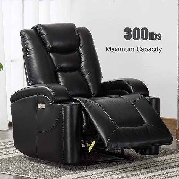 ANJ 电动躺椅客厅透气粘合皮革经典和传统单人沙发座椅家庭影院座椅杯架和 USB 端口黑色