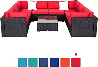 Peach Tree 9Pcs Outdoor Patio Rattan Wicker Sofa Sectional and Chaise Lounge Furniture Set Red