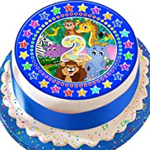 Cannellio Cakes 2Nd Birthday Blue Jungle Animals Star Border 7.5 Inch Precut Edible Icing Cake Topper Decoration