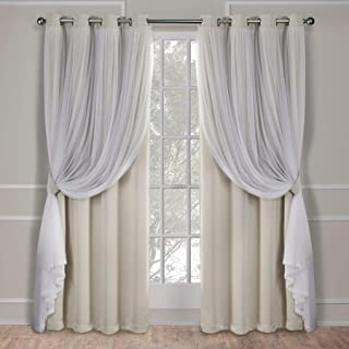 Exclusive Home Curtains Catarina Layered Solid Blackout and Sheer Window Curtain Panel Pair with Grommet Top, 52x108, San...
