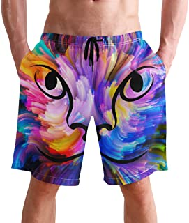 Beach Shorts, Colorful Animal Printed Mens Trunks Swim Short Quick Dry with Pockets for Summer Surfing Boardshorts Outdoor...