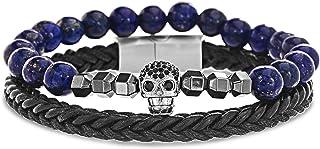 Steve Madden Stainless Steel Blue Beaded Skull Charm Black Braided Leather Stackable Bracelet for Men