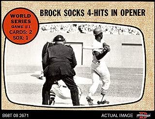 1968 Topps # 151 1967 World Series - Game #1 - Brock Socks 4-Hits in Opener Lou Brock St. Louis/Boston Cardinals/Red Sox (Baseball Card) Dean's Cards 5 - EX Cardinals/Red Sox