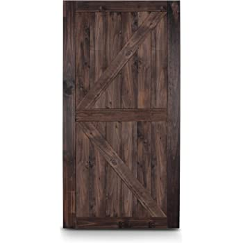 Amazon Com Belleze 42 X 84 Modern Sliding Barn Door Natural Wood Pine Unfinished K Shape Single Door Easy Install Espresso Home Improvement