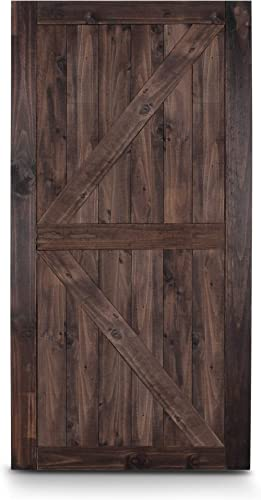 """BELLEZE 42"""" x 84"""" inches Modern Sliding Barn Door Natural Wood Pine Unfinished, Arrow Single Door Easy Install, Espresso"""