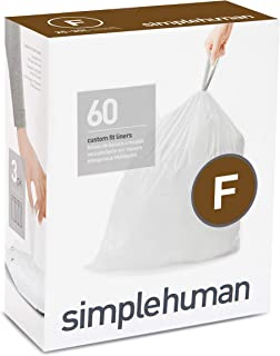 simplehuman Code F Custom Fit Liners, Drawstring Trash Bags, 25 L / 6.5 Gallon, 3 Refill Packs (60ct)