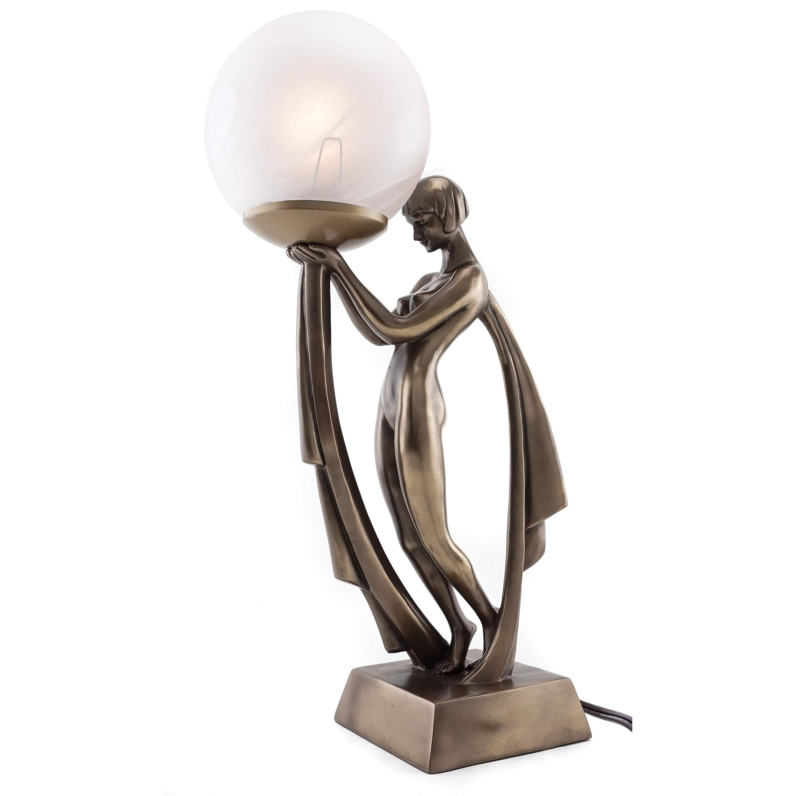 Top Collection Modern Art Deco Lady Lamp Statue Decorative Table Lamp Sculpture In Premium Cold Cast Bronze 16 Inch Collectible Beautiful Light