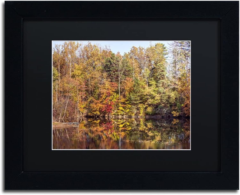 Trademark Fine Art Autumn Quarry by Jason Shaffer, Black Matte, Black Frame, 11  X 14