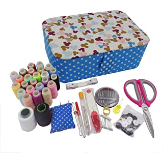 ISOTO Fabric Sewing Basket with Sewing Kit Accessories Storage and Organizer Complete Kit Tools Gift Grandma Mother DIY Le...