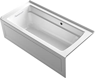 KOHLER K-1948-LAW-0 Archer 66-Inch x 32-Inch Alcove Bath with Bask Heated Surface, Integral Apron, Tile Flange and Left-Hand Drain, White