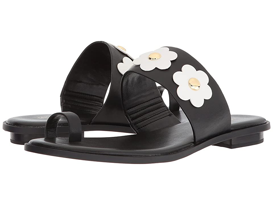 MICHAEL Michael Kors Sonya Flat Sandal (Black/Optic White Vachetta/Cut Out Flower) Women