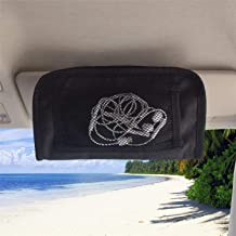 MDSTOP Car Sun Visor Organizer Bag Sunglasses Holder Case Small Things Accessories Storage Pouch Fits for Cars, Trucks, Suvs (Black, 5