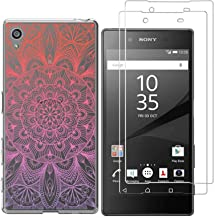 Sony Xperia Z5 Case with 2 Pack Glass Screen Protector Phone Case for Men Women Girls Clear Soft TPU with Protective Bumper Cover Case for Sony Xperia Z5-Mandala