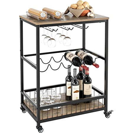 HOMECHO Wine Bar Cart, Simple Modern Beverage Cart with Wine Rack/Glass Holder, Rolling Serving Cart with Lockable Wheels for Home Kitchen, Wood and Metal Frame, Rustic Brown