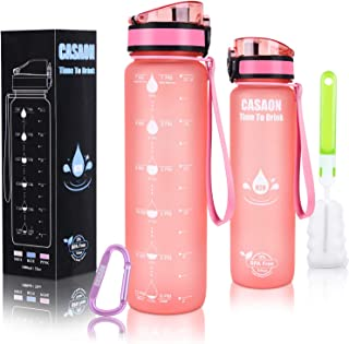 CASAON 32oz Motivational Water Bottle with Time Marker,  1 Liter Tritan BPA Free Sports Water Bottle