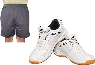 FOOTFIX Men's Squash White (Non Marking) Gym, Badminton Sports Shoes with Free Black Shorts