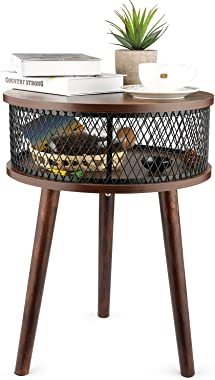 BATHWA Industrial Round End Table, Side Table with Metal Storage Basket, Vintage Accent Table, Wooden Look Furniture with Met