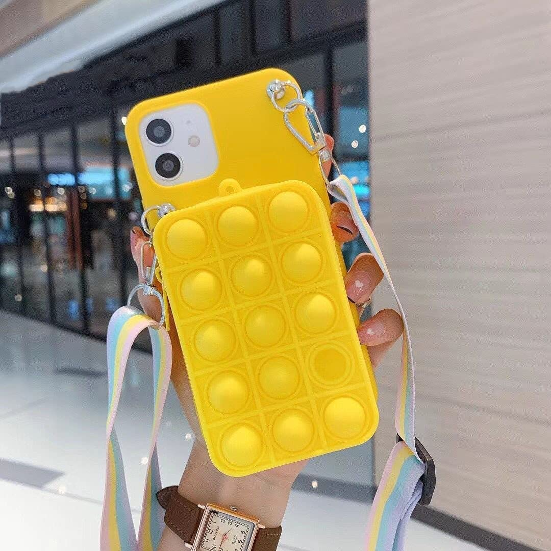 ISYSUII Cute Case for Samsung Galaxy S20 Ultra Rainbow Bubble Silicone Protective Phone Case for Teens Girls Soft Silicone Shockproof Cover with Card Holder Crossbody Adjustable Strap,Yellow