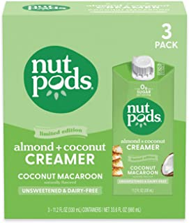 nutpods Coconut Macaroon (3-Pack), Unsweetened Dairy-Free Creamer, Made from Almonds and Coconuts, Whole30, Gluten Free, N...