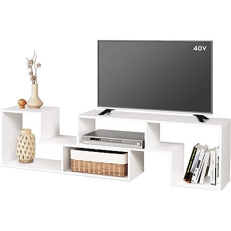 DEVAISE テレビ台 テレビラック テレビボード ローボード 伸縮 幅105~210cm 60インチまで対応 コーナー 収納ラック 2点セット 簡単組立 ホワイト ORADSG602WH