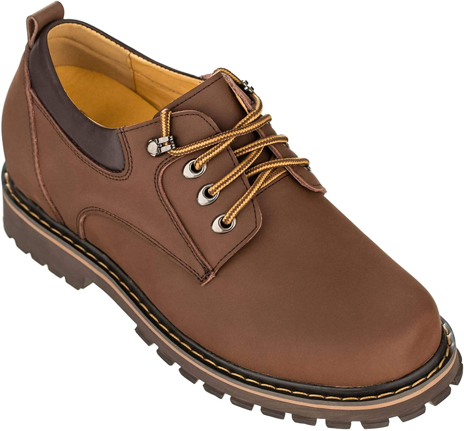 Toto Men's Invisible Height Increasing Elevator shoes - Brown Leather Lace-up Casual Loafers - 3.2 Inches Taller - F70272