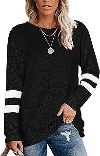 Owin Womens Color Block Sweatshirts Fashion Casual Crewneck Stripe Long Sleeve Tunic Tops