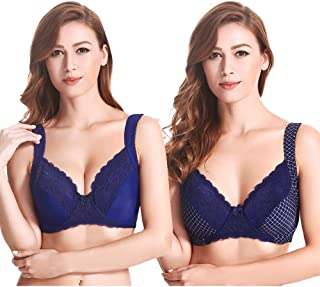 4482500a5e Curve Muse Plus Size Balconette Underwire Lace Bra with Padded Shoulder  Straps-2pack