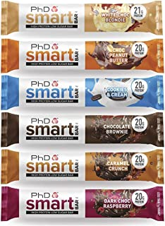 PhD Smart Bar High Protein Low Carb Bar, Variety Box of 6 Flavours, 64 g, Pack of 12 Bars