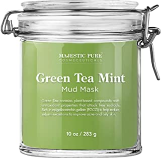 Majestic Pure Green Tea Mint Mud Mask - Exfoliating Facial Face and Skin Mask for Blackhead and Acne - Rich in Antioxidant...