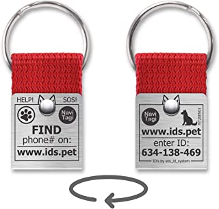 NaviTagi Color Pet ID Tags for Cats, Small/Medium/Large Dogs. Personalized w/ID Number. Reliable Design, Strong Stainless Steel Ring. 2 Phones Updatable Online, Name Safe