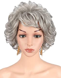 Kalyss Short Silver Grey Curly Wavy Wigs with Hair Bangs Lightweight Premium Heat Resistant Synthetic Wigs for Women