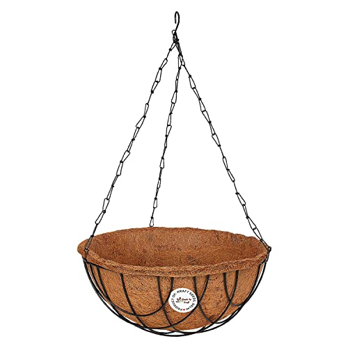 """Kraft Seeds Coir Basket Hanging - 10"""" Full With Stand and Chain"""