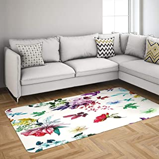 Bright Floral Gzoey Area Rugs,Floral Abstract Roses Lily Valley with Leaves White Watercolor Rugs for Living Room Badroom Dorm Rug 5'x7' Carpet Blue Green