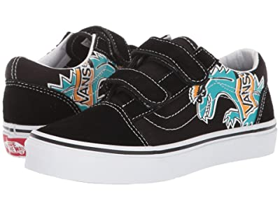 Vans Kids Old Skool V (Little Kid/Big Kid) ((Vanosaur) Black/True White) Boys Shoes