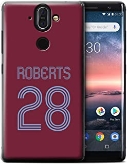 Personalized Custom Soccer Club Jersey Shirt Kit Case for Nokia 8 Sirocco 2018 / Claret Blue Design/Initial/Name/Text DIY Cover