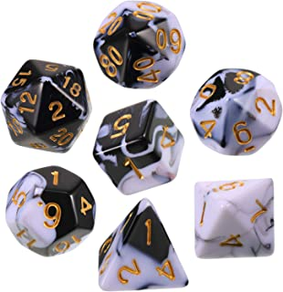 Polyhedral 7-Die Dice Set for Dungeons and Dragons with Black Pouch (Solid Black White)