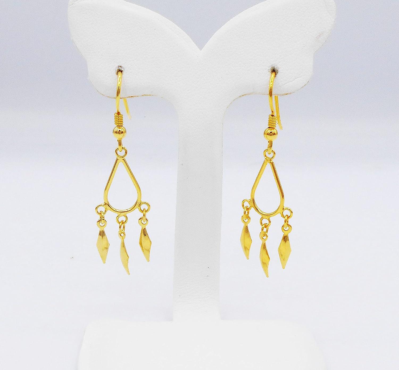 Lai Thai Gold Plated Bangle 24k Thai Baht Yellow Gold Filled Bracelet Size 6.5 Inch Free Gift Earrings 1 Pair