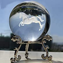 HDCRYSTALGIFTS 60mm 3D Carving Horse Decor Crystal Ball Paperweight with 2Pcs Stand Display for Home Office Table