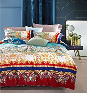 Bohemian Duvet Cover Striped Ethnic Boho Reversible Paisley Pattern Cotton Bedding 3 Piece Set Colorful Modern Hippie Style (Queen, Golden Treasures)