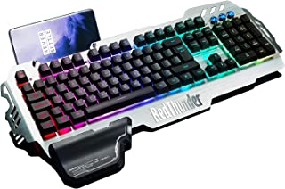 RedThunder K900 Gaming Keyboard - Mechanical Similar with Transparent Switch - RGB Backlight, Phone Holder, Hand Rest, Brushed Metal Cover, 25 Keys Anti-Ghosting - Computer Laptop PC Mac Gamer