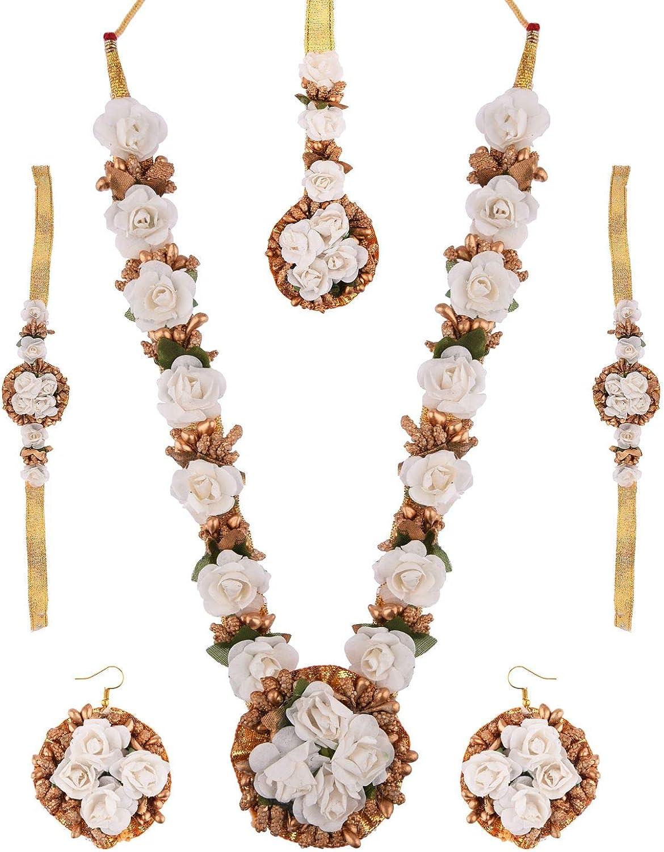 Efulgenz Indian Flower Jewelry Set for Haldi Mehandi Baby Shower Wedding Women Girls