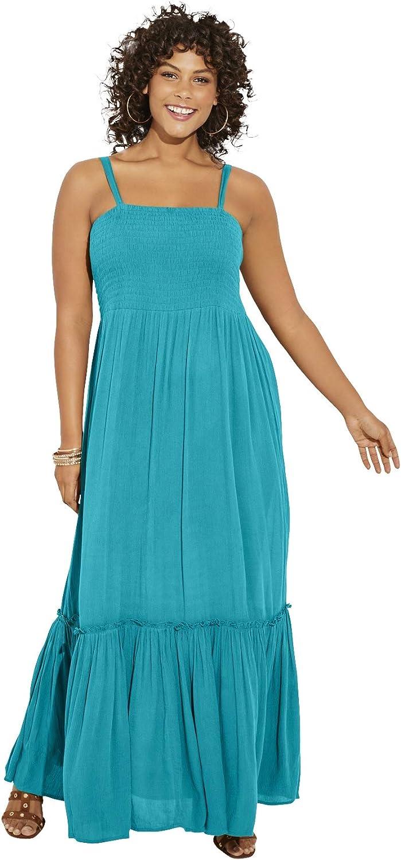 Roamans Women's Plus Size Two-in-One in 送料無料 一部地域を除く Dress Remov Crinkle 市場 Maxi