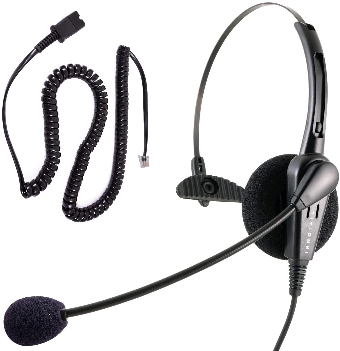 Telephone Headset Headphone Compatible with Cisco 8811 8841 8851 8861 8865 8941 8945 8961 Phone - Call Center Noise Cancel Mic Compatible with Plantronics QD